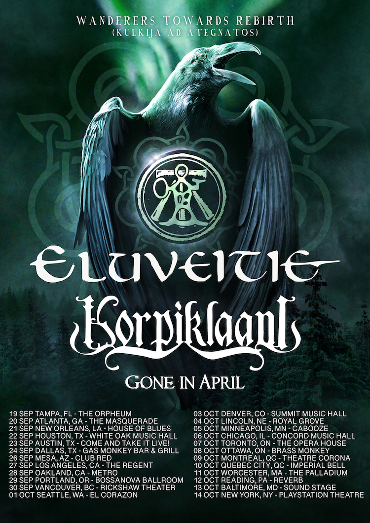 2019 North American tour Eluveitie Korpiklaani Gone in April Poster